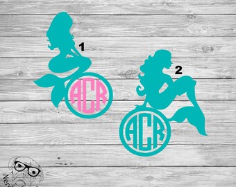 Mermaid Decal, Monogram Mermaid Decal, Mermaid Car Decal, Mermaid Sticker, Mermaid Laptop Decal - You choose image, size and color