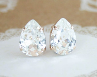 Swarovski earrings,stud earrings,teardrop earrings,pear earrings,crystal earrings,crystal stud earrings,clear crystal,bridal earrings,stud
