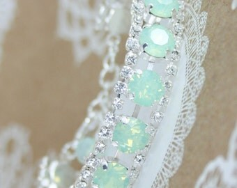 Crystal bracelet,swarovski bracelet,swarovski tennis bracelet,swarovski,mint bracelet,mint wedding jewelry,mint bridesmaid,mint bridal,mint