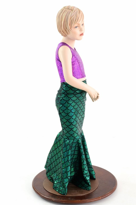 Girls Mermaid Skirt & Crop Top Set in Green by ...