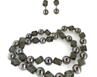 Hattie Carnegie Gray and Silver Necklace Earrings Set, Vintage Smoky Glass Bead Demi Parure