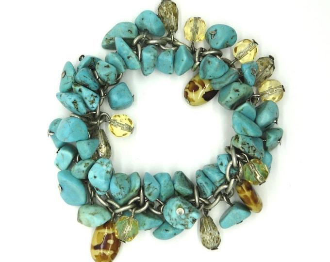 Turquoise Cha Cha Stretch Bracelet, Vintage Turquoise and Jasper Nugget Bracelet, FREE SHIPPING