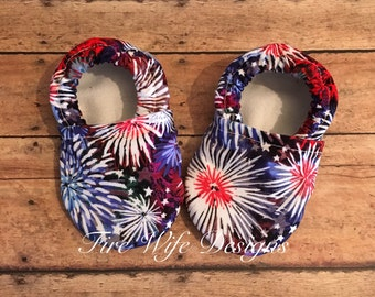 Firework Patriotic Baby Shoes, Crib Shoes, Baby Slippers, Baby Booties, Baby Mocs, Vegan Baby Shoes