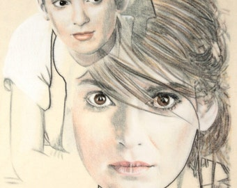 One-off, hand-drawn double portrait of Winona Ryder, in charcoal and pastel on calico