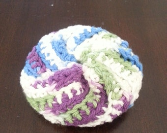 Resuable Dish Scrubber/Scrubbie - Crocheted - 100% Cotton - Fruit Punch