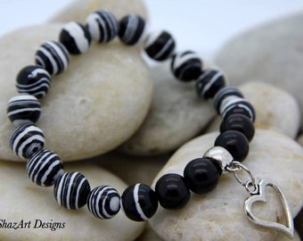 Black & White Zebra Turkey Turquoise Bracelet, Gemstone Bracelet, Beaded Bracelet, womens bracelet, Black, white, zebra, Stretch Bracelet
