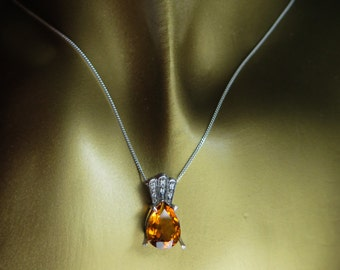 3cts Natural deep orange madeira citrine Sterling .925 Silver pendant necklace (chain is included)