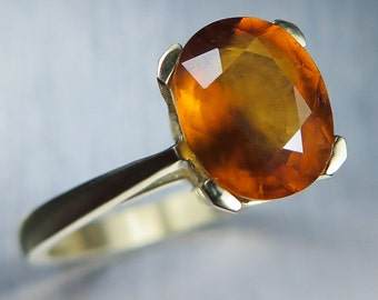 2.60cts Natural Hessonite garnet orange oval cut 9ct 375 yellow gold engagement ring all sizes