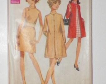 Junior Petite Sewing Pattern Dress & Coat 1960's Simplicity 7999 UNCUT Size 11 JP Bust 34 Waist 251/2 Hip 35 Misses Vintage Pattern