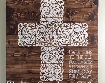 Filigree Painted Cross Wall Hanging with Verse, Cross Wall Decor, Hymnal Wall Hanging, Hymn Decor, Cross Decor, Filigree Cross