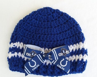 Baby Hat, Indianapolis Colts Newborn or 3-6 months, Hand Crochet