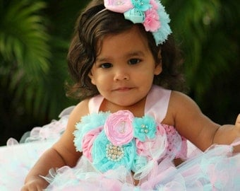 Pink and Aqua tutu/ pink and Aqua birthday outfit/ first birthday tutu/ birthday tutu dress/ Aqua tutu/ first birthday outfit
