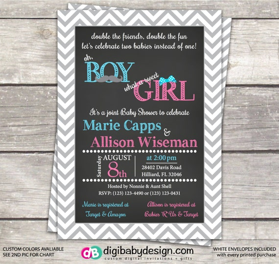 Joint Boy And Girl Baby Shower Invitation In Grey Chevron
