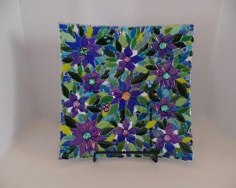 "12"" Square Blue Poinsettia Fused Glass Dish"