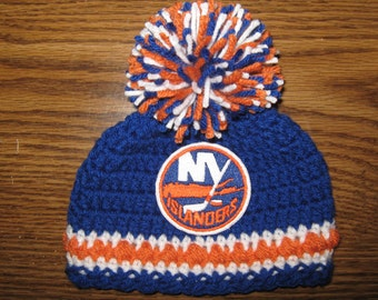 Crochet Beanie Baby Hat (New York Islanders) Embroidered Logo - Blue, Orange and White with embroidered Islanders logo and large pom pom