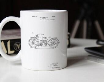 Harley Davidson Motorcycle 1919 Patent Mug, Motorcycle Mug, Vintage Motorcycle, Vintage Harley Davidson, Teen Boy Room Decor, PP0194
