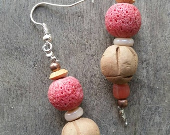 Handmade red coral pottery wood and recycled glass bead earrings on silvertone shepherd hooks