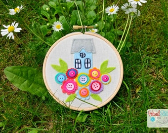 Floral Home Embroidery Hoop - Rainbow Flowers
