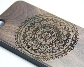 Floral Mandala Real Wood Engraved iPhone 7/6s/6 Case,iPhone 7/6s/6 plus case,iPhone SE/5/5s,Natural Wooden Galaxy S7/S6 Edge Case,Galaxy S5