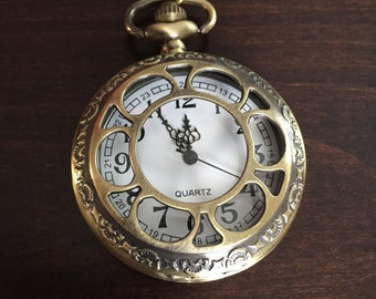 Bronze Locket Necklace - Pocket Watch Necklace - Clock Necklace - Wedding Jewelry - Wedding Birthday Bridesmaid Gift