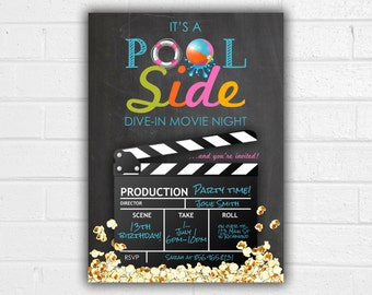 Pool Party Invitation - JPEG printable -  Movie Party - Summer Invite - Birthday Invitation - Teen Girl - Pool Party Printable - Movie Night