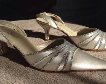 Ivory Satin & Aurora Borealis Rhinestone Sling back Kitten Heel Shoes Wedding Prom size 3uk
