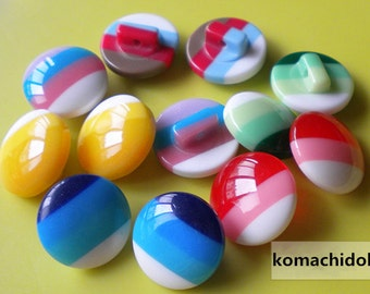 Children Kid Rainbow Striped Resin Buttons Colorful Stripes Sewing Buttons 14mm BW-rs-14  5 Pieces