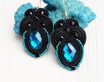 Small Black Soutache Earrings-Black Retro Earrings-Retro Jewelry-Crystal Earrings-Beaded Earrings-Hand Embroidery-Kids Earrings-Silver Hooks