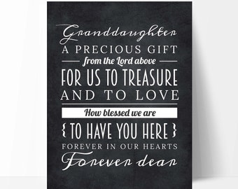 Adorable Grandchild Granddaughter Gift from Grandparents, Granddaughter Quote Chalkboard Nursery Art Print