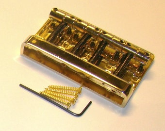 Replacement Bridge For Four or Five String ELECTRIC BASS GUITAR - Gold Finish
