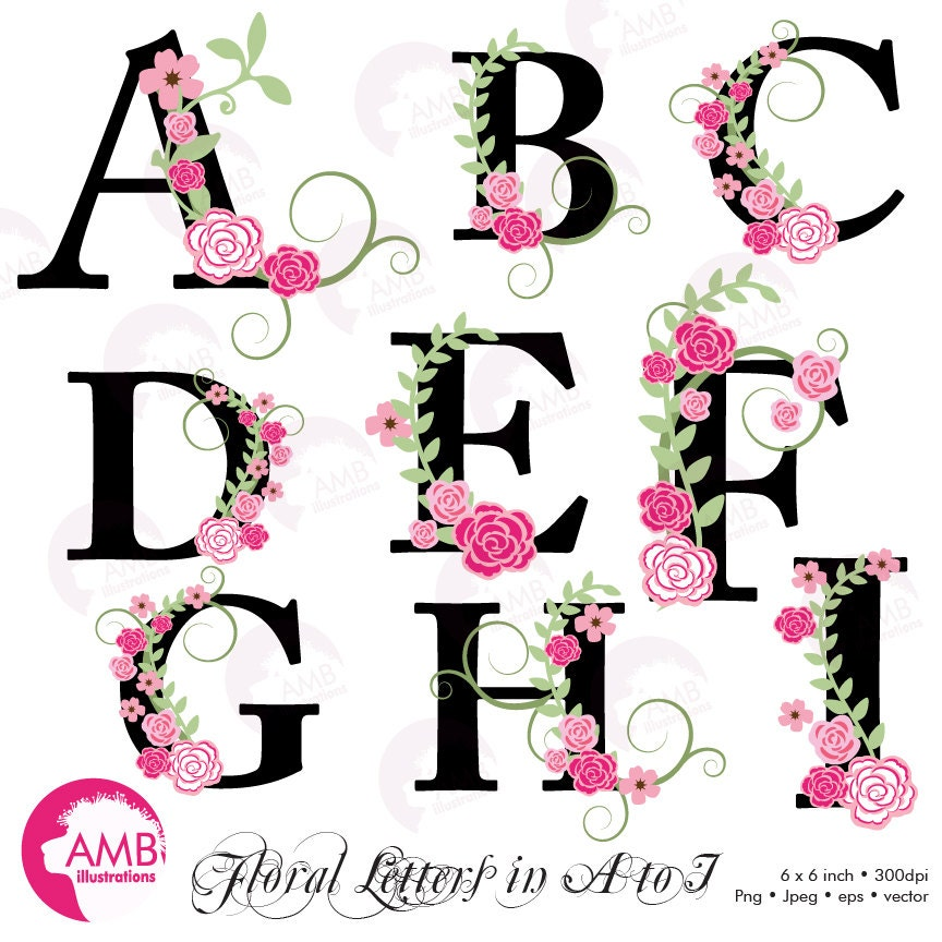 Trio Floral Alphabet Clipart Pack Shabby Chic Wedding