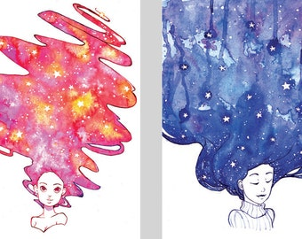 A4 watercolour art prints space galaxy hair on 100% recycled paper