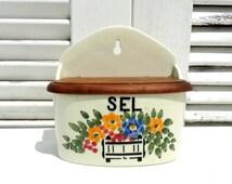 French Vintage Ceramic Sel (Salt) Box/Vintage French Salt Box/Vintage Ceramic Salt Box