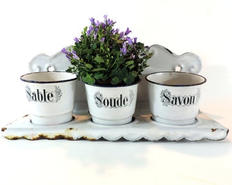 French Vintage Enamel Pots With Shelf/French Vintage Enamelware Cleaning Pots/Savon Sable And Soude/Shabby Chic kitchen