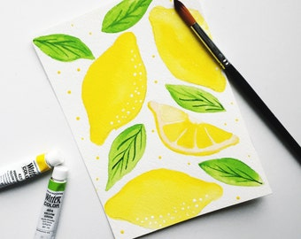 Lemon Watercolor 4x6