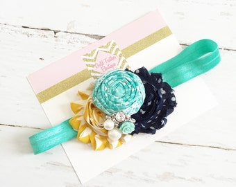 teal aqua mustard navy headband-polda dot chiffon rosette headband