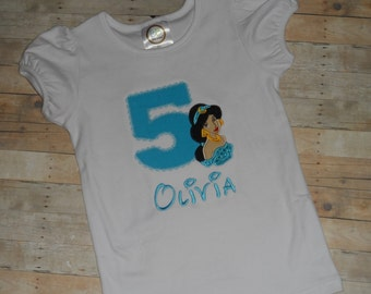 Princess Jasmine birthday shirt Baby Toddler Girls custom applique 12 18 24 months 2t 3t 4t 5t