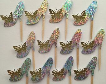 Cinderella's glass slipper cupcake topper