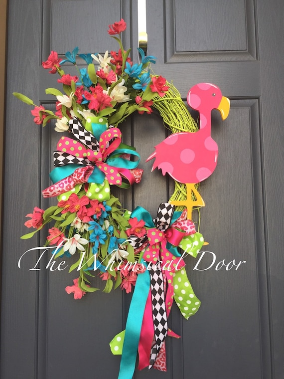Flamingo Wreath Summer Wreath Spring Wreath Floral Wreath Bow