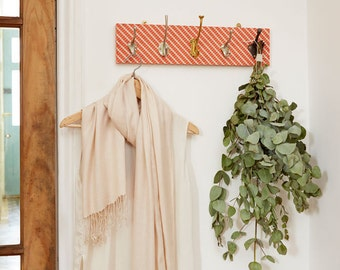 Ziggy Fabric Mismatched Coat Rack with Five Hooks, wall storage, coat hook, hallway storage, coat tidy