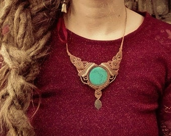 beautyful handmade turquoise necklace tribal gipsy bohemian jewelry