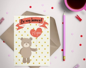 Bear Valentine's Day Card (Instant download Printable)