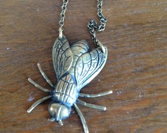 Metal Fly Insect Necklace