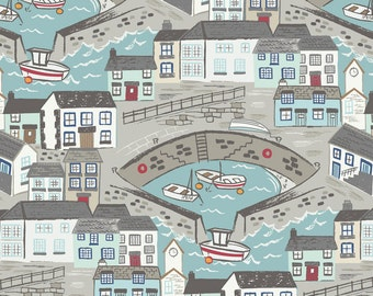 Long quarter A175.1 - Harbour with aqua sea Lewis & Irene Harbour Side Patchwork Quilting Fabric A175.1 - Harbour with aqua sea