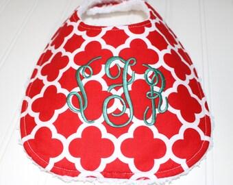 Monogram Baby, Boutique Baby Toddler Bib, Quatrefoil Bib, Monogram Bib, Monogrammed Bib, Adjustable Size, Personalized Baby Bib Drool Bib