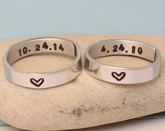 Personalized - Dates Rings- Couple rings. Adjustable. Custom rings.Set of two Rings.. Hand Stamped, Aluminum Rings..