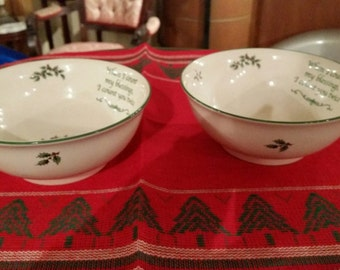 2 Spode England Revere Bowl Count My Blessings Christmas Tree Bowls