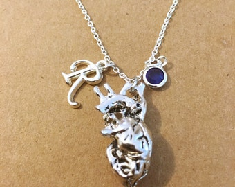 Anatomical heart initial personalized charm necklace