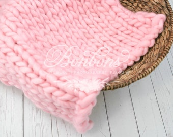 Pink Basket Stuffer, Basket Filler, Newborn Blanket, Newborn Photo Prop, Newborn Props Wool Basket Stuffer Photo Prop, Photography Props RTS