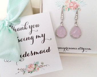 Bridesmaid jewelry set of 8 blush pink earrings Bridesmaid jewelry Bridesmaid Gift Blush Pink Silver Earrings